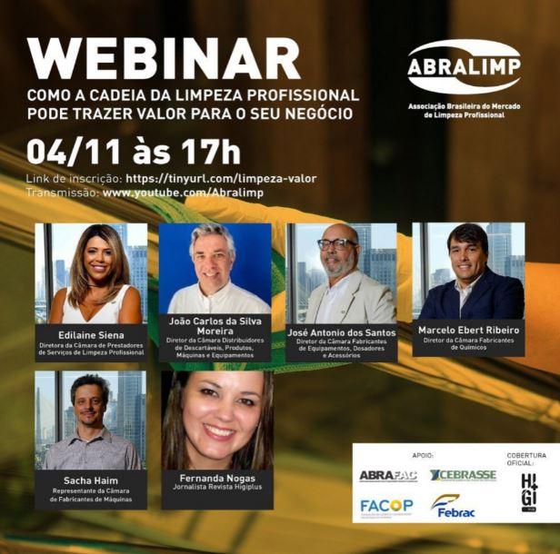 Com apoio da ABRAFAC, ABRALIMP promoverá webinar sobre como a cadeia da limpeza profissional pode trazer valor para os negócios