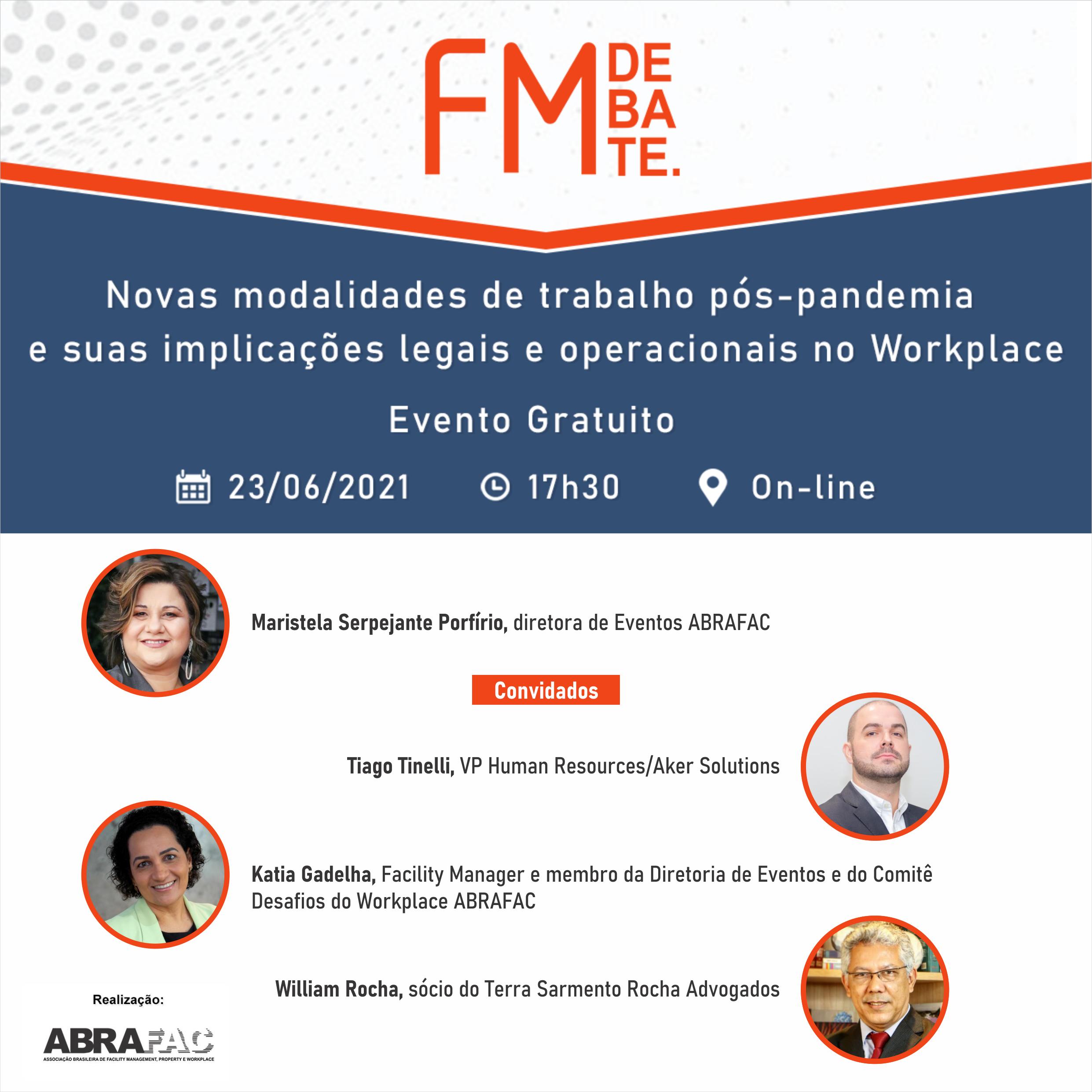 FM Debate abordará novas modalidades de trabalho pós-pandemia e suas implicações legais e operacionais no Workplace