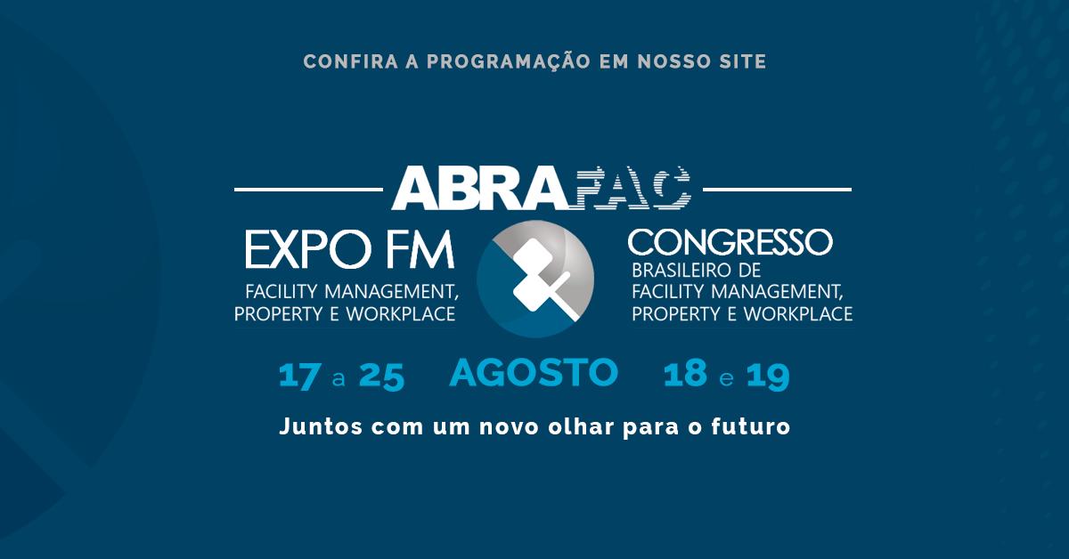 Congresso ABRAFAC e Expo FM 2021, que juntos formam o maior evento do setor de FM,Property e Workplacedo Brasil, serão realizados em formato online nos dias 18 e 19 de agosto